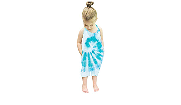 gjgjfly Baby Summer Jumpsuits for Girls Kids Cute Toddler Straps Rompers Tie Dye Harem Piece Pants Clothing Size 2-7Y