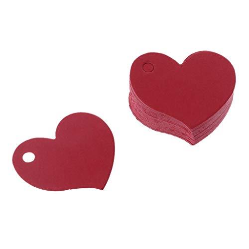 LLLucky 50 Stücke Herzform Leere Kraftpapier Karte Geschenk Tag Gepäck Label DIY Hängen Tags Party Hochzeit Handwerk Rot