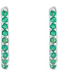 Gehna 18KT White Gold, Emerald And Hoop Earrings For Women