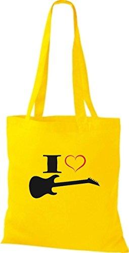 Shirtstown Stoffbeutel Musik I love E-Gitarre Gelb
