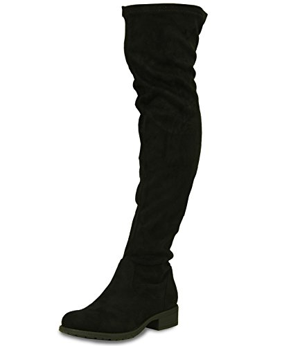 Marke neue Cucu Fashion Damen Über das Knie Faux Wildleder Stiefel Damen niedrigen Blockabsatz Reißverschluss Schuhe Größe UK 3-8, Schwarz - schwarze Velourslederoptik - Größe: 39 EU/6 UK (Suede Faux Boots High Knee)