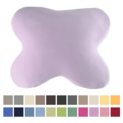 EddaLux Bezug für Tempur Ombracio Kissen Bauchschläferkissen | Kissenbezug für Schmetterlingskissen | mit Marken-Reißverschluss | 100% Baumwolle | Farbe Lavendel