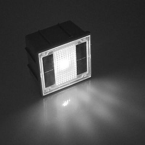 LL Luces de jardín camino de 2 LED solar blanco al aire libre con incrustaciones de ladrillo