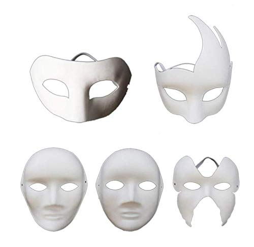Gwill 5 Stücke Blank Mask DIY von selbst Hand Malen Halloween Dance Party Cosplay Bar Thema Party Requisiten