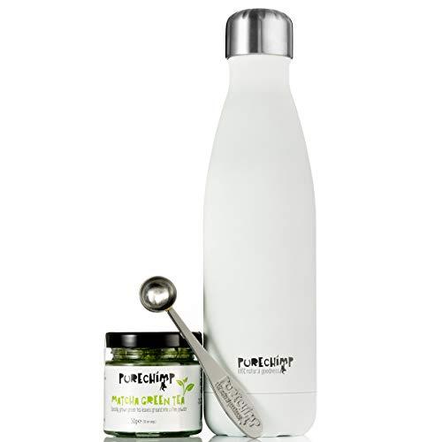 Matcha On The Go by PureChimp - 500ml Bottle, 50g Matcha Tea, Metal Serving Spoon
