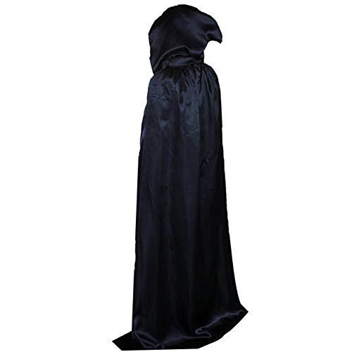 Mit Kostüm Robe Kapuze Black - BJ-Shop Halloween Umhänge,Schwarzer Umhang Long Black Cloak Unisex Robe Umhang für Erwachsene Kinder
