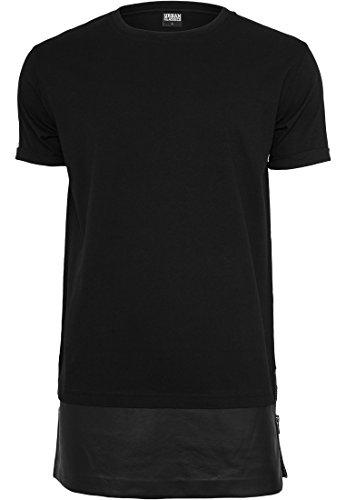 URBAN CLASSICS - Long Zipped Leather Imitation Bottom Tee (black) Black