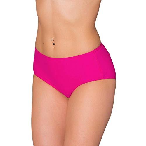 Aquarti Damen Bikinihose mit Mittelhohem Bund, Farbe: Pink, Größe: 36 (Bikini-höschen)