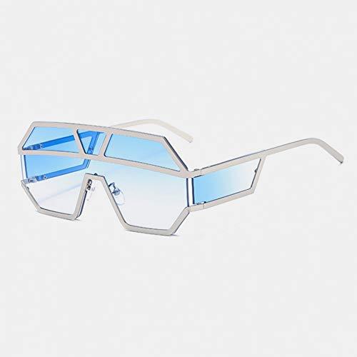 SYQA Sonnenbrille Übergroße Sonnenbrille Herren Marke Vintage Rivet Sonnenbrille Herren Randlose Skibrille Schwarz Shield Sonnenbrille,C7