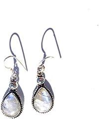d691f649b42d Ethnos Barcelona - Pendientes lágrima de plata y piedra luna.