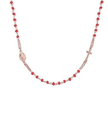 Collier chapelet en argent rhodié 925 avec perles rouges - Croix et médaille de la Vierge Marie - Linea Italia bijoux Made in Italy