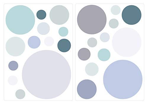 dekodino Wandtattoo Kinderzimmer Wandsticker Set Pastell Kreise in Blau, Grau und Grün T
