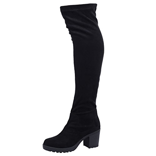 style-a-black-faux-suede-size-6-womens-ladies-mid-platform-wedge-heel-knee-high-boots