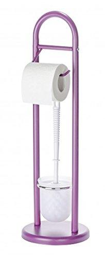 WENKO Stand-WC Garnitur - lila - WC-Bürste & Rollenhalter - 63 x 19 cm (HxØ) - Toilettenpapierhalter - Ersatzrollenhalter - Toilettenbürste