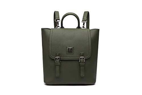 Mochila mujer vintage verde oscuro satchel, mochilas de vestir vintage y de moda, Bolsos Mambo