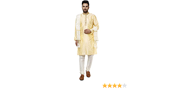 SKAVIJ Hommes Kurta Pyjama et Dupatta Indien Robe Ethnique