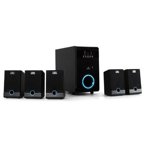 "auna 5.1-JB • Surround Sound System 5.1 • home theatre • RMS 95 Watt • activ subwoofer • woofer 5,25"" (13 cm) • bass reflex • 5 casse satelliti • entrata AUX • effetti luminosi LED • nero"