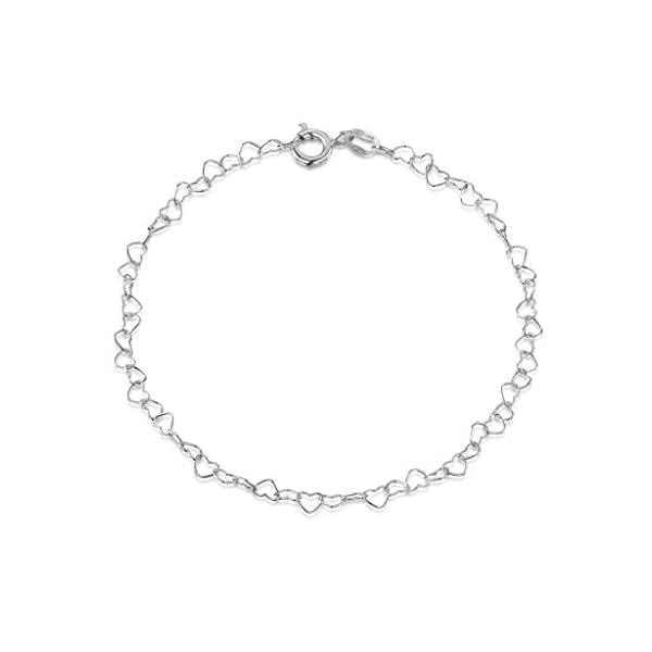 Amberta® Gioielli – Bracciale – Catenina Argento Sterling 925 – Modello Cuore – Larghezza 3 mm – Lunghezza: 19 20 cm