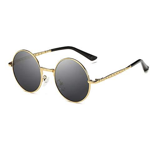 AMZTM Süß Steampunk Sonnenbrille für Kinder Mädchen Jungen Polarisierte Punk Brille, UV Schutz Linse Metall Rahmen, Kleine Runde Brille (Gold Rahmen Graue Linse)