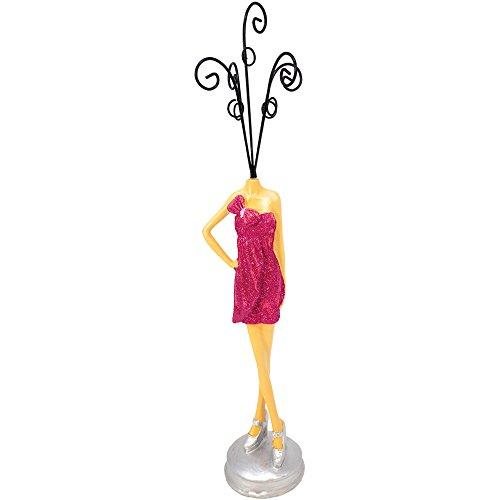 com-four® Schmuckständer Topmodel aus Polyresin, Schmuckaufbewahrung auf einem Halter in verschiedenen Designs, 31 cm (01 Stück - Design 1)