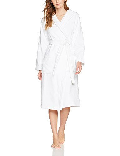 Iris & Lilly Damen Frottee-Bademantel mit Kapuze, Einfarbig, Gr. Medium, Weiß (White)
