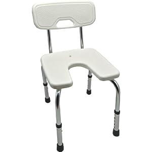 """Duschhocker """"Standard"""" höhenverstellbar mit Rückenlehne – Badehocker, Hocker, Duschstuhl, Duschsitz, Duschschemel"""