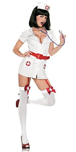 Niedliche Kostüm Halloween Weibliche - LLY Spiel Uniformen Versuchung Rolle Spielen Krankenschwesterkostüm Halloween-Kostüm, White