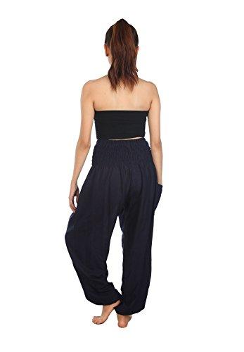 Lofbaz Donna Smocked Waist Boho Harem Pantaloni Solid 1 Blu Scuro