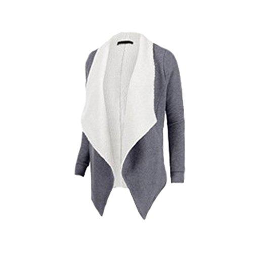 Manteaux Femme Casual Loose Laine Mélangée Outwear Mode Col Suit Hem Irrégulière Front Open Cardigan Manches Longues Coat Blousons Gris
