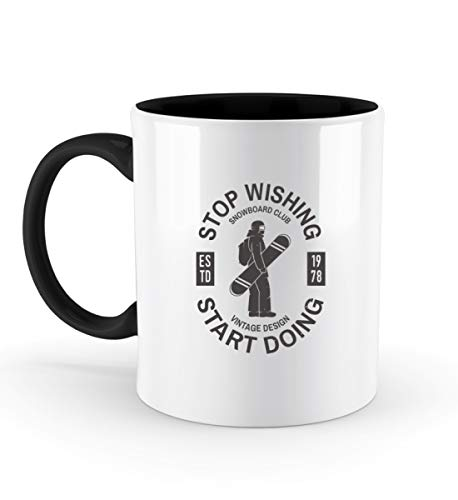 Shirtflyer STOP WISHING - START DOING - SNOWBOARD - Zweifarbige Tasse -330ml-Schwarz