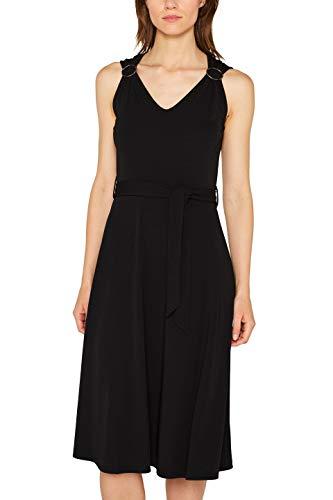 Stretch Jersey Kleid (ESPRIT Collection Damen 079EO1E001 Kleid, Schwarz (Black 001), Large (Herstellergröße: L))