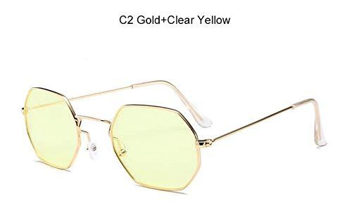 KONGYUER Sonnenbrillen, Brillen,Goldgelb Transparente Sonnenbrillen Trendige Flache Brille Damen Sonnenbrille Platz Sonnenbrille Herren Uv400