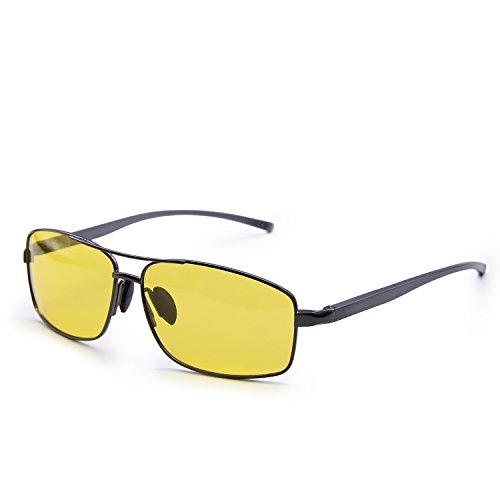 AMZTM Puente Doble Aviadores Gafas De Conducción Nocturna Polarizadas HD Anti Reflejante Gafas De Visión Nocturna Con Patas Ajustables Para Hombre