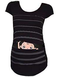 Premamá Invierno Leggins Abrigos Camiseta De Manga Corta A Rayas con Estampado De Bebé Divertido Y Lindo De Maternidad Tops Embarazadas
