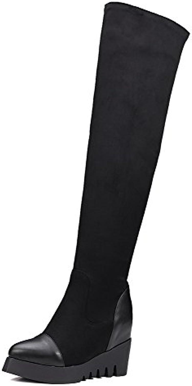 AllhqFashion Damen Rein Hoher Absatz Ziehen auf Spitz Zehe Stiefel