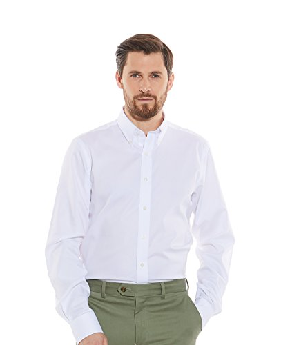 Savile Row Men's White Pinpoint Slim Fit Button-Down Casual Shirt - Single Cuff S Standard (Slim Pinpoint Fit)