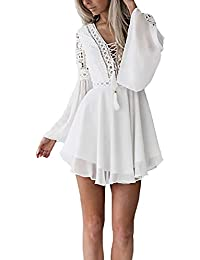 30521b0745 Mini Vestido Mujer Elegantes Trompeta Manga V-Cuello con Vestido Gasa  Cintura Alta con Cordones Moda Casual con…