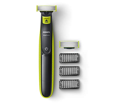 Philips QP2526/10 OneBlade Hybrid Trimmer and Shaver with 3 Trimming Combs and extra blade (Lime Green)