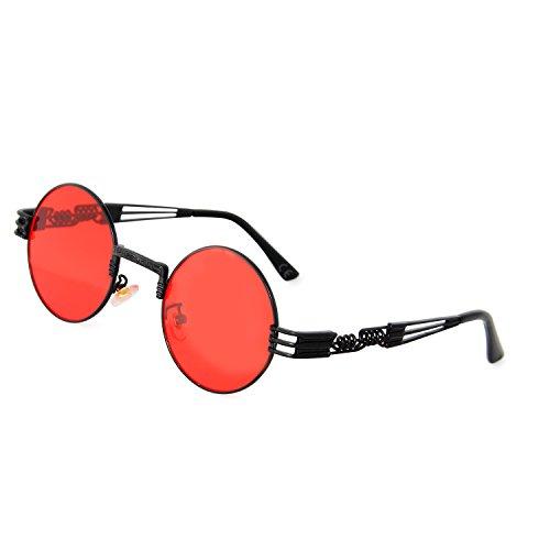 AMZTM Retro Vintage Steampunk Sonnenbrille Klassischer Kreis Hippie Brille für Herren Damen Runder Metallrahmen UV400 Schutz Alte Mode Brille (Schwarzer Rahmen Rot Linse, 49)