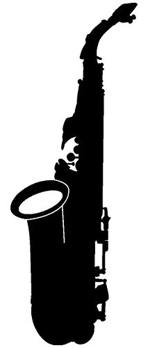 Samunshi® Saxophon Aufkleber Sticker in 8 Größen und 25 Farben (7,4x20cm schwarz)
