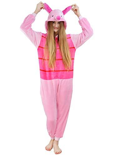 Kostüm Pyjama Pooh - Unbekannt Damen Fleece Einteiler Nachtwäsche Pyjama Kostüm Kapuze Schweinchen rosa Gr. S