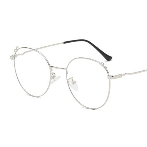Sakuldes Brillenbrillen, rund, optischer Rahmen, klare Gläser, Unisex Silber