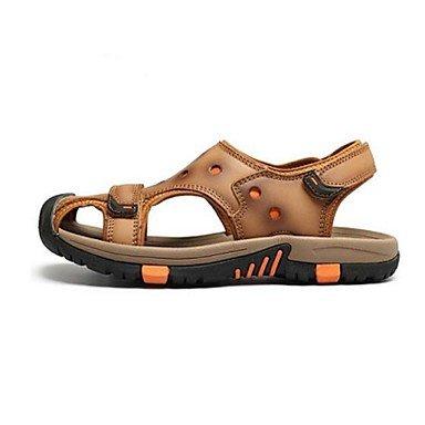 Uomini sandali estivi Casual in pelle tacco piatto marrone kaki Khaki