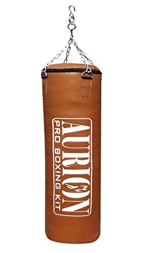 AURION 3 Feet Filled Rex Leather Punching Bag Boxing Mma Sparring Punching Training Kickboxing Muay Thai