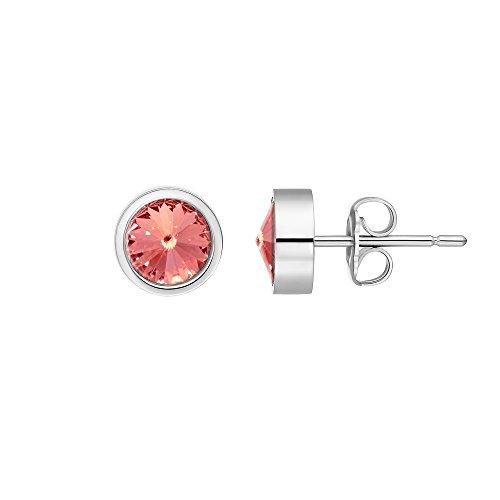 men Coma aus Edelstahl silber farbend poliert Ohrstecker für Frauen mit Swarovski Stein Kristall rose peach im Fantasie Edelsteinschliff 6mm ()