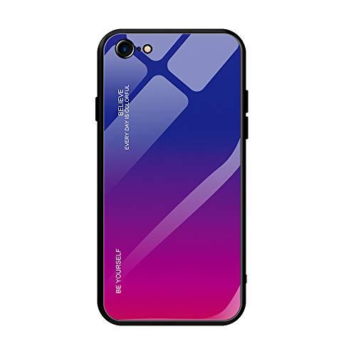 Alsoar Custodia Compatibile con iPhone 8/ iPhone 7 Cover Completa Del Corpo,Custodia Antiurto in Silicone Ultra Sottile con Cover Posteriore in Vetro Temperato per iPhone 8/ iPhone 7 (Viola Rosso)