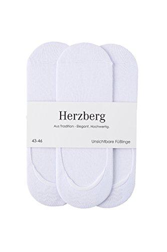 Herzberg Invisible Socks Füsslinge, 5 Paar, weiß, Größe 43-46