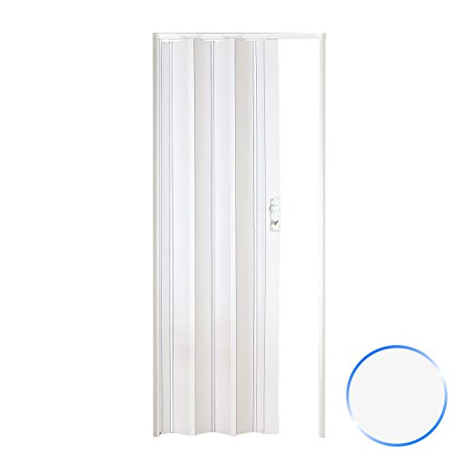 Porta a soffietto da interno in pvc bianca 88,5x214 cm mod. luciana
