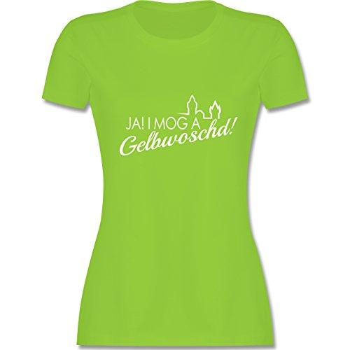 Städte - Ja! I mog a Gelbwoschd Franken Hommage - tailliertes Premium T-Shirt mit Rundhalsausschnitt für Damen Hellgrün