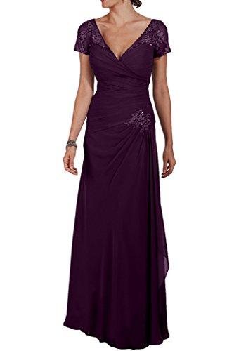 La_Marie Braut Elegant Chiffon V-ausschnitt Kurzarm Abendkleider Partykleider Formalkleider fuer brautmutter Lang Traube